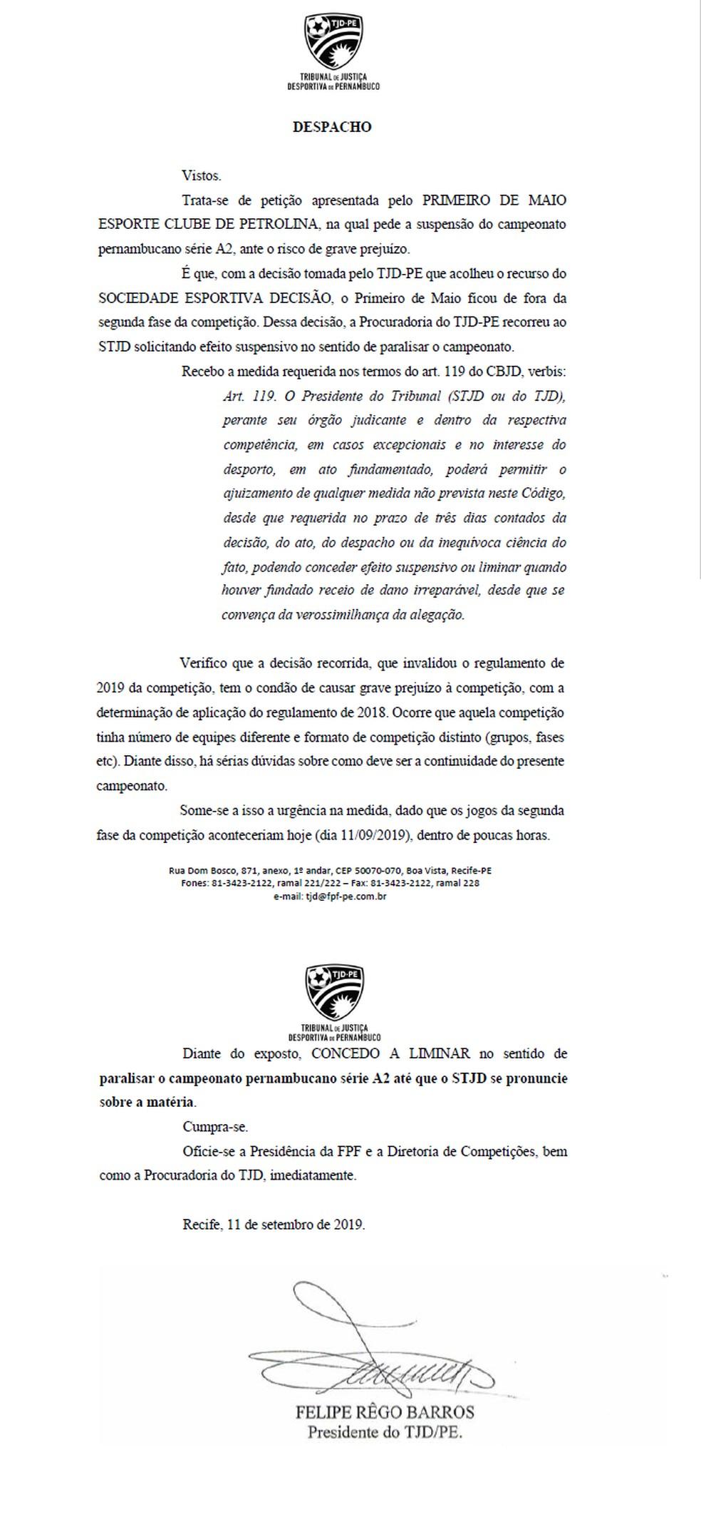 Documento do TJD-PE — Foto: Reprodução