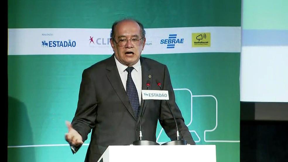 Gilmar Mendes em evento na segunda-feira (21) (Foto: Reprodução/TV Globo)