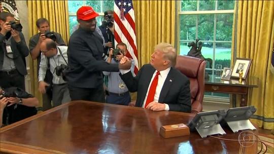 Donald Trump recebe o rapper Kanye West na Casa Branca