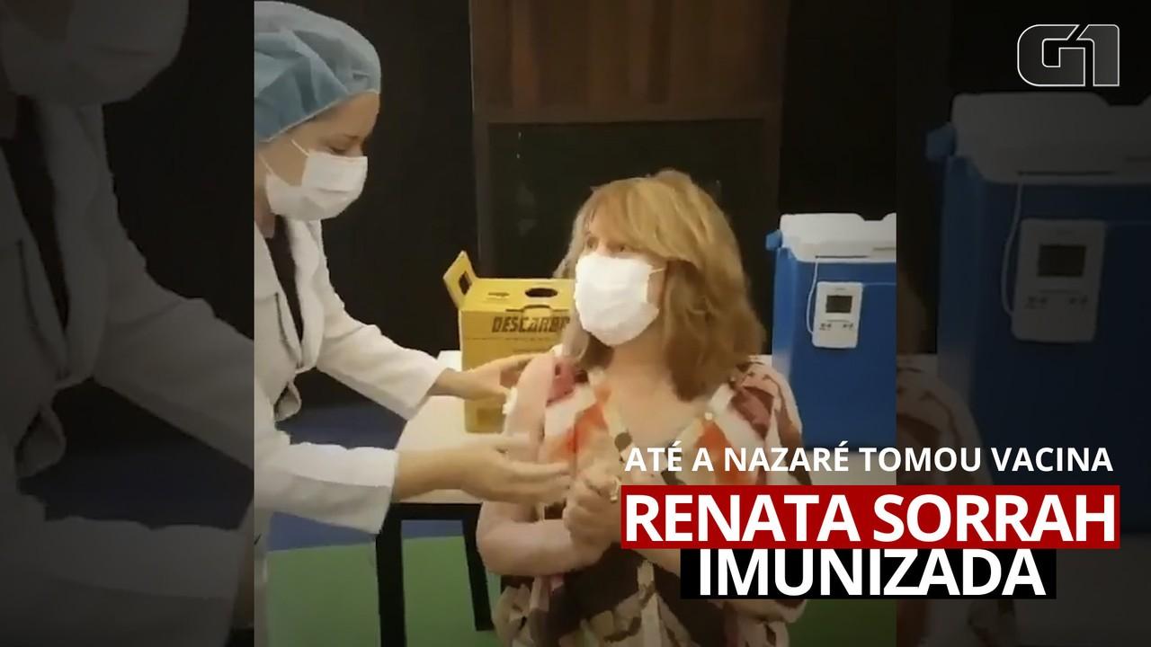 Renata Sorrah toma a primeira dose da vacina contra a Covid-19