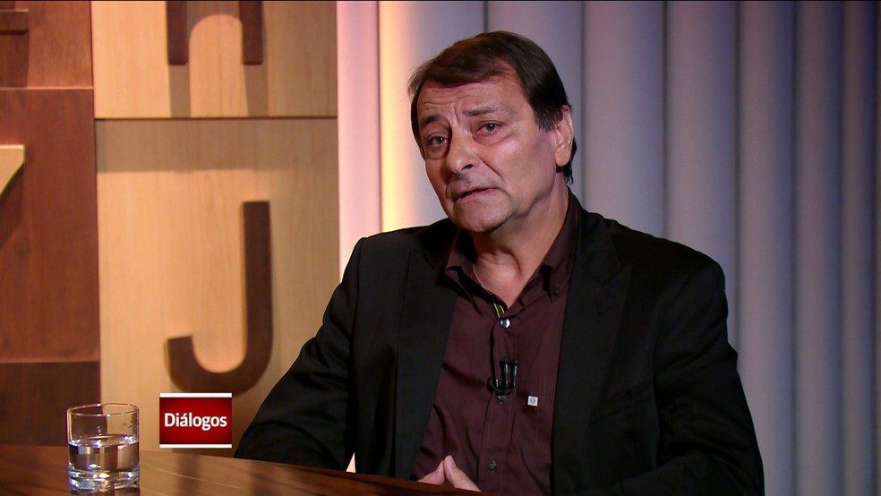 Cesare Battisti no programa Diálogos, da GloboNews — Foto: GloboNews