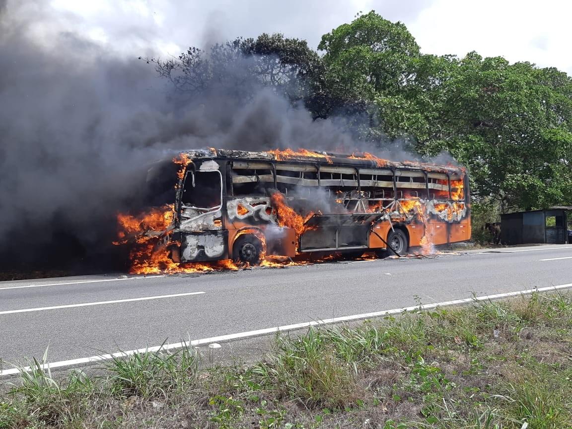 Ônibus com 30 passageiros pega fogo em trecho da BR-230, na região da Mata Paraibana