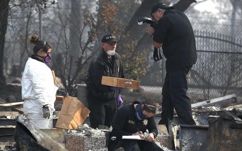 Policial fotografa uma caixa com pequenos ossos humanos — Foto: Justin Sullivan / Getty Images / AFP Photo