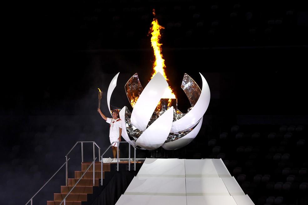Naomi Osaka acende a pira das Olimpíadas de Tóquio — Foto: Maddie Meyer/Getty Images