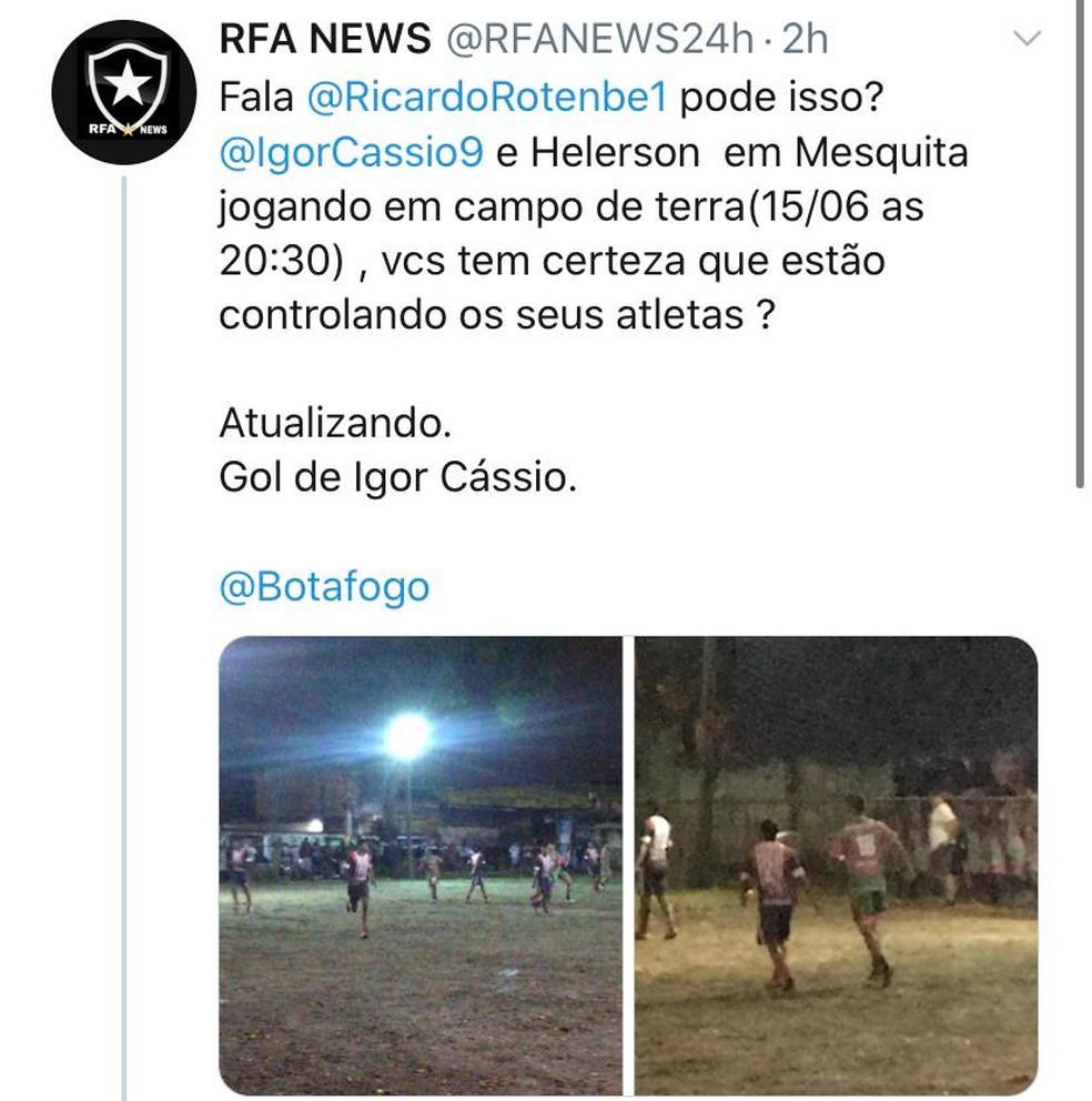 """Perfil no Twitter denuncia jogadores do Botafogo furando quarentena em """"pelada"""" — Foto: Reprodução/Twitter"""