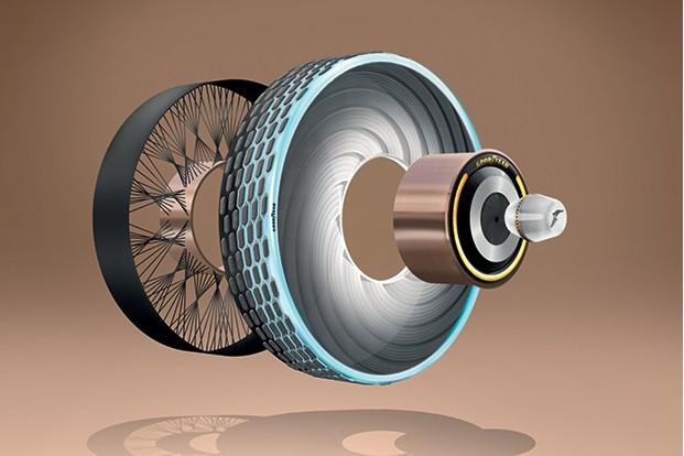 A americana Goodyear revelou um conceito de pneus fabricado com materiais biodegradáveis, inspirado nas teias das aranhas (Foto: Divulgação)