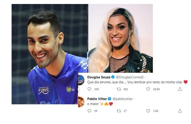 Pabllo Vittar elogiou Douglas Souza via Twitter: 'O maior' (Foto: Reprodução)