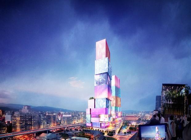 Torres em Taiwan imitarão o conceito da Time Square, nos Estados Unidos (Foto: Instagram / mvrdv)