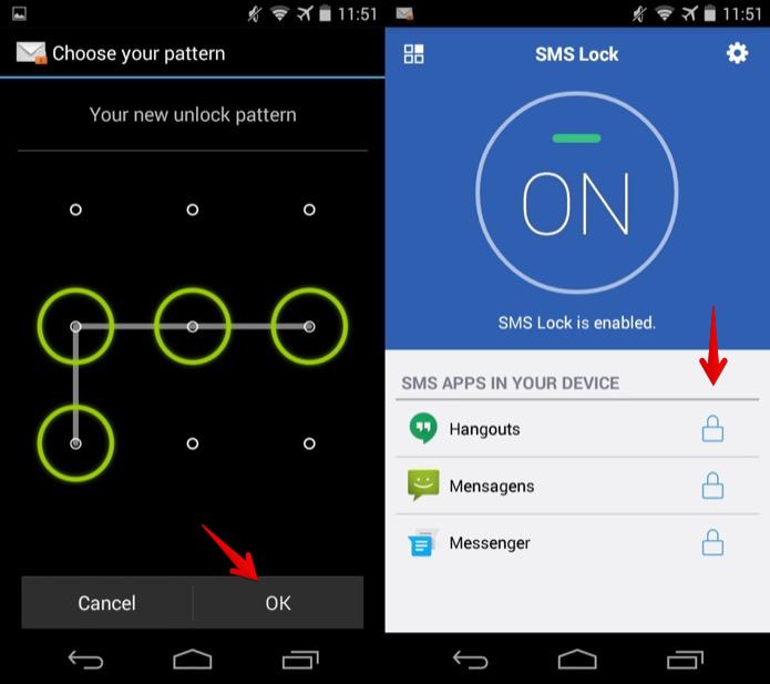 Confirme a senha e os aplicativos de SMS a serem bloqueados (Foto: Reprodução/Helito Bijora)