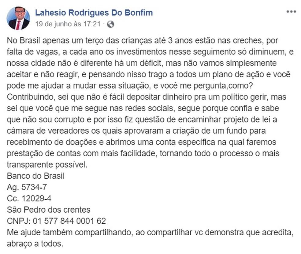 Postagem do prefeito de São Pedro dos Crentes pedindo doações à população para construir uma creche na cidade — Foto: Reprodução/Redes Sociais
