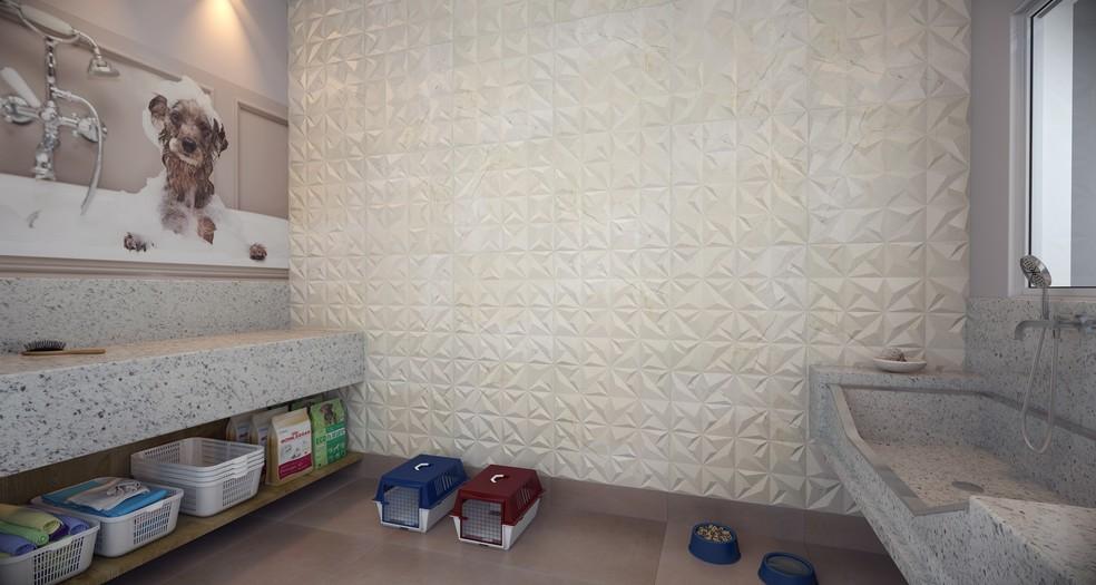 Projeto do espaço para banho e tosa em prédio do Setor Bueno, em Goiânia — Foto: Assessoria Comunicação Sem Fronteiras/Divulgação