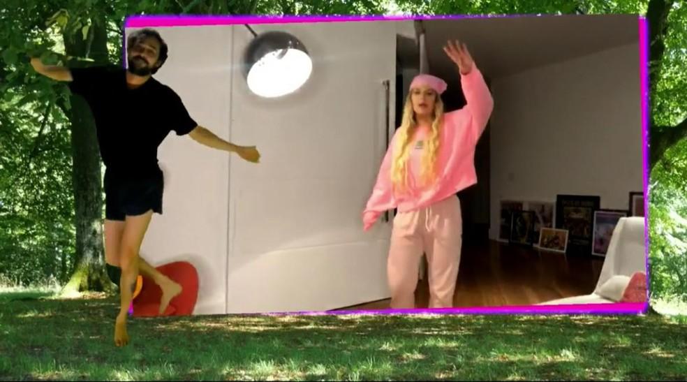 Edu Sterblitch e Luísa Sonza dançam ao som de 'Toma' — Foto: Gshow
