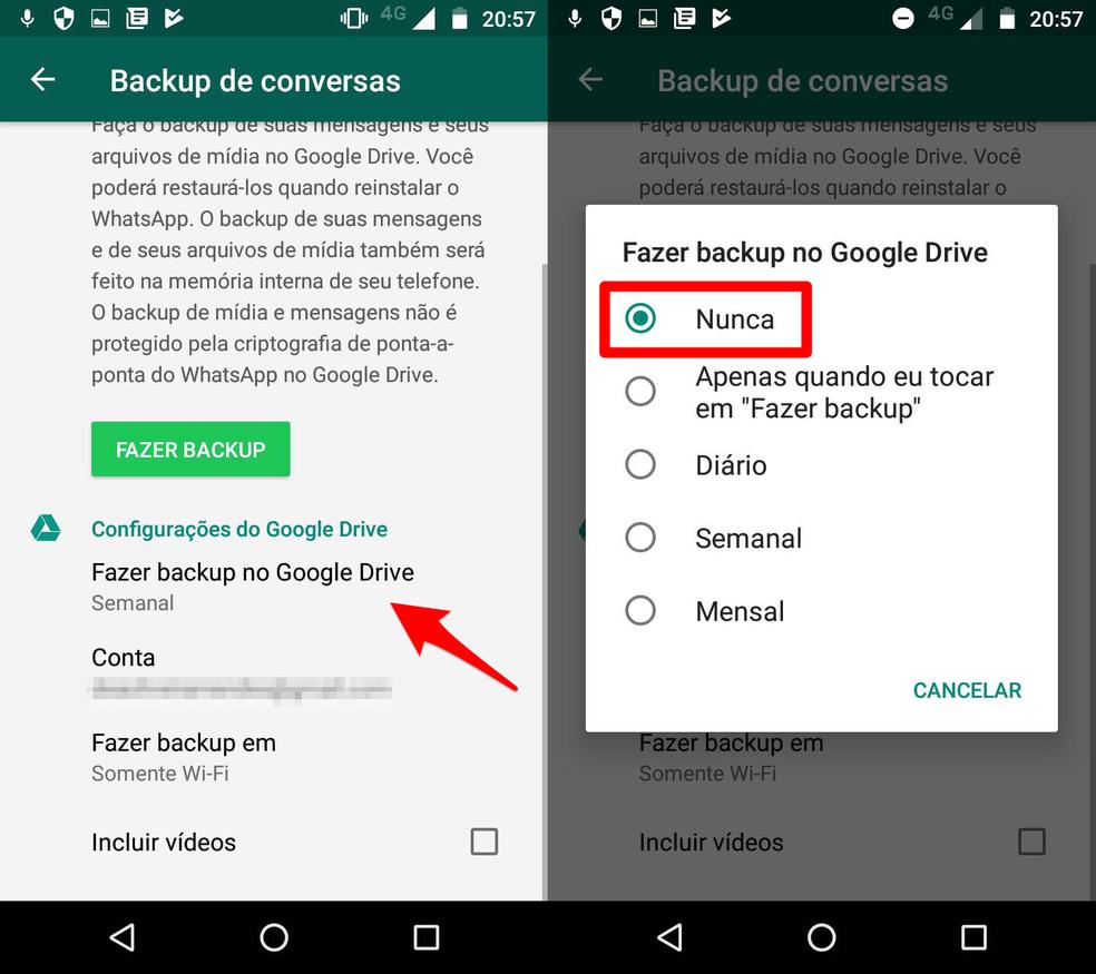 Desative a função de backup automático no WhatsApp (Foto: Reprodução/Lucas Mendes)