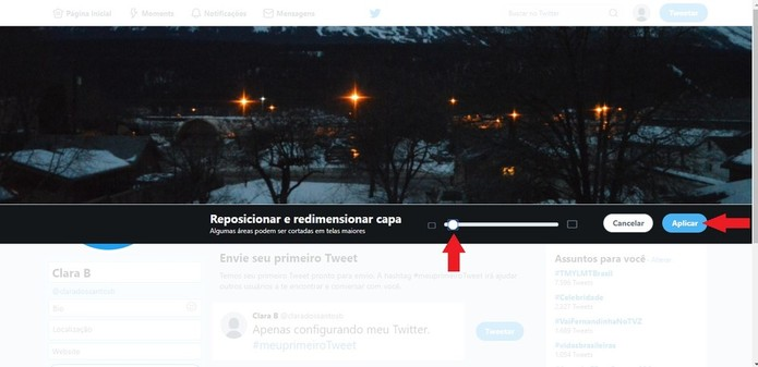 É possível ajeitar a foto de capa para cima ou para baixo e para a esquerda ou para a direita (Foto: Reprodução/Clara Barreto)