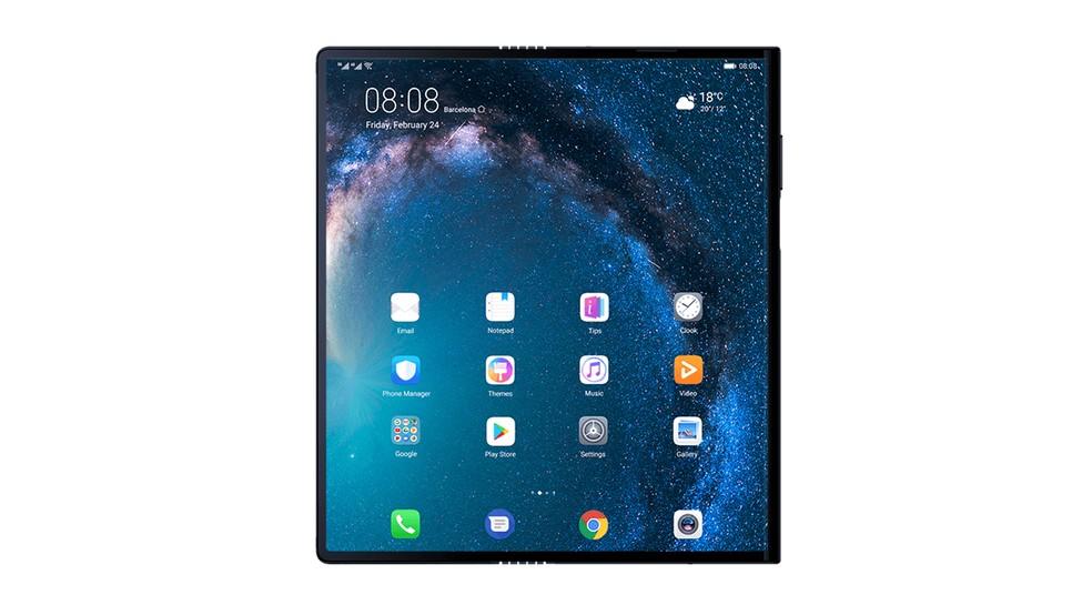 Aberto, o Mate X é um tablet de 8 polegadas — Foto: Divulgação/Huawei