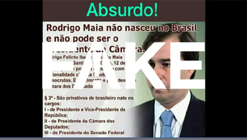 É #FAKE que Maia não pode ser presidente da Câmara  — Foto:  G1
