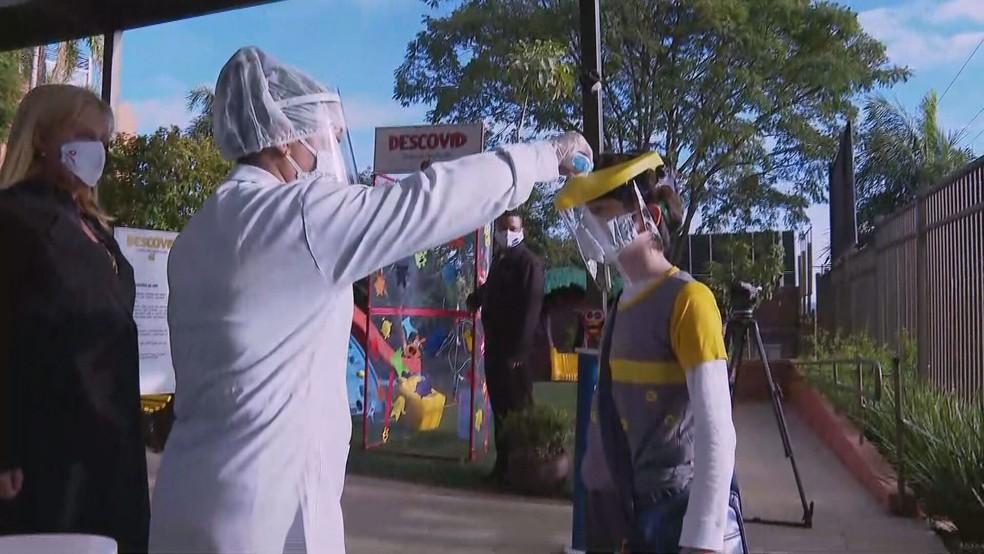 Escola particular durante volta às aulas presenciais após pandemia de coronavírus. — Foto: TV Globo/Reprodução