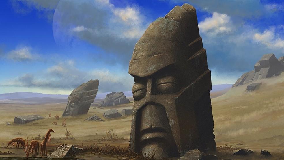 Ilustração de um estudo feito pelo físico Adam Frank, que imaginou uma suposta população alienígena baseada na Ilha de Páscoa — Foto: Divulgação via BBC
