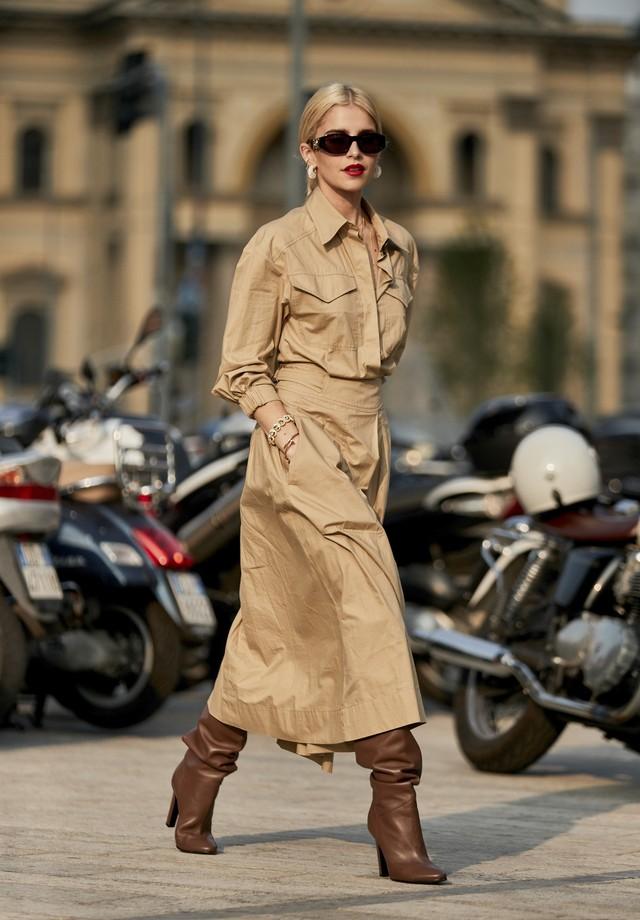 Bege invade o street style da semana de moda de Milão (Foto: Imaxtree)