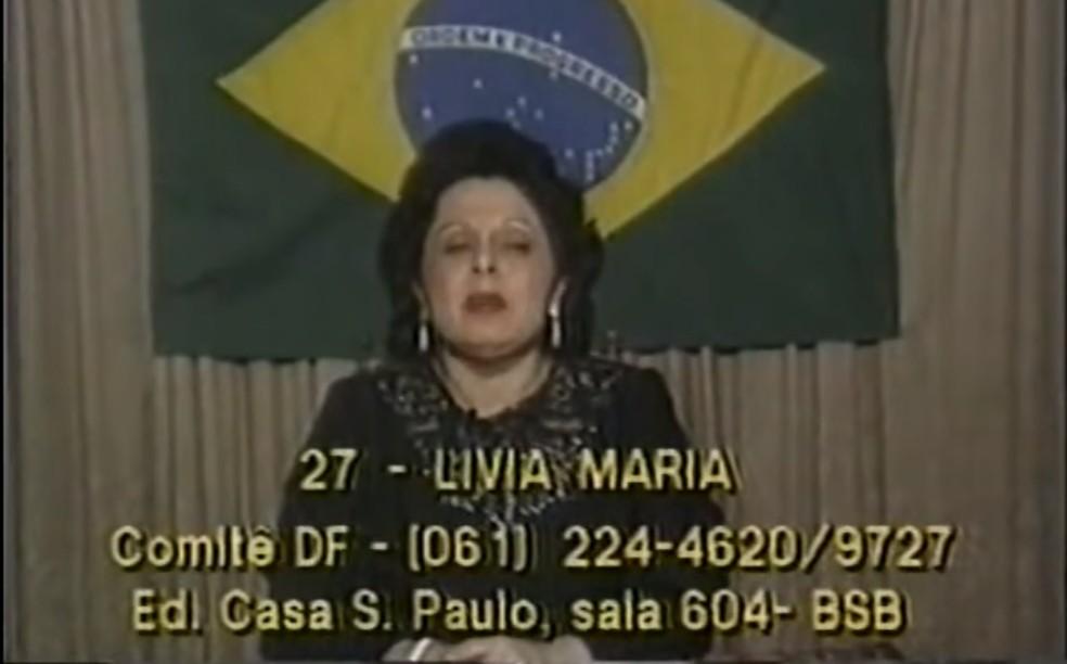 Programa eleitoral de Livia Maria Pio Abreu, candidata à Presidência em 1989 pelo extinto PN — Foto: Reprodução/Youtube