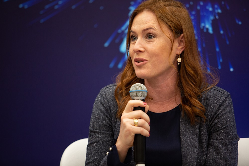 Cristiane Muller, Líder de Pesquisa para Inseticidas da Corteva, durante o lançamento (Foto: André Montejano)