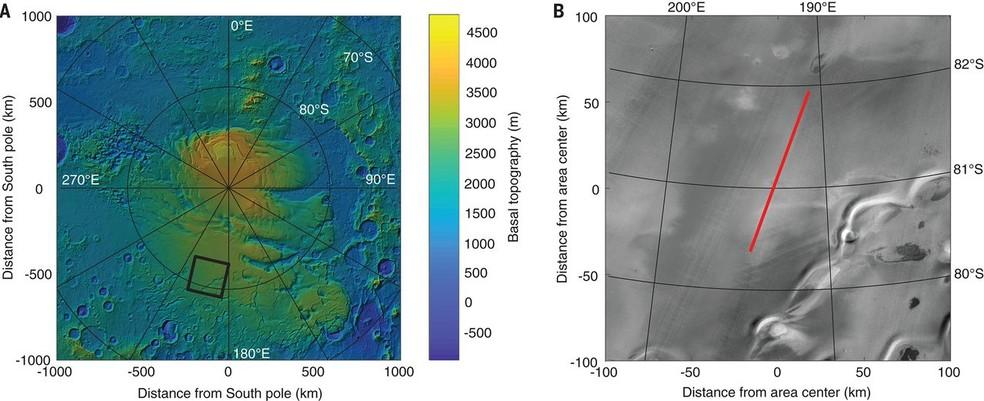 Água em Marte: mapa da área investigada com uso de radares por pesquisadores italianos. (Foto: Divulgação)