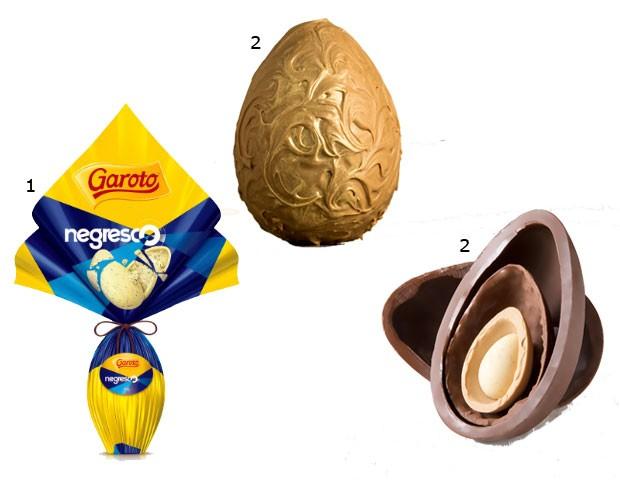 1.Ovo Negresco, Garoto/ 2. Ovo Branco Caramelizado, Vila Chocolate/ 3. Ovo Quartetto, Starbucks (Foto: Divulgação)