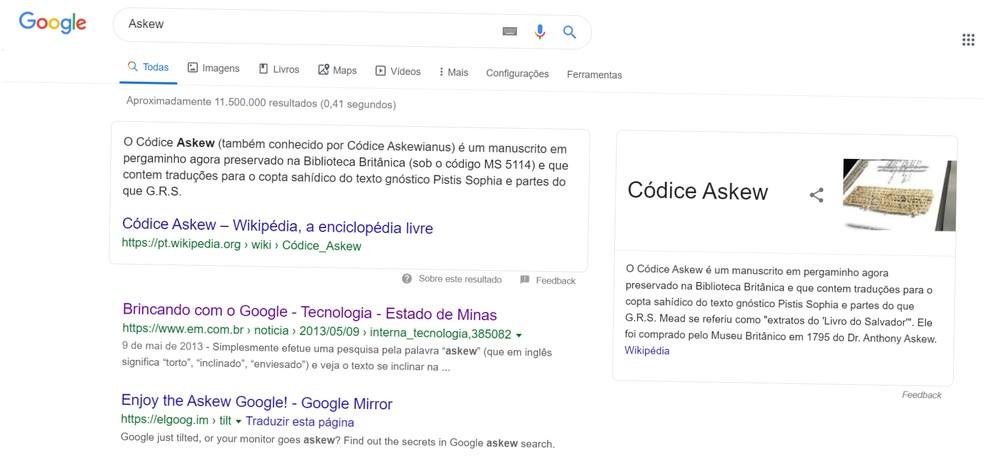 """Easter egg """"Askew"""" inclina a rotação da página para a direita — Foto: Reprodução/Google"""