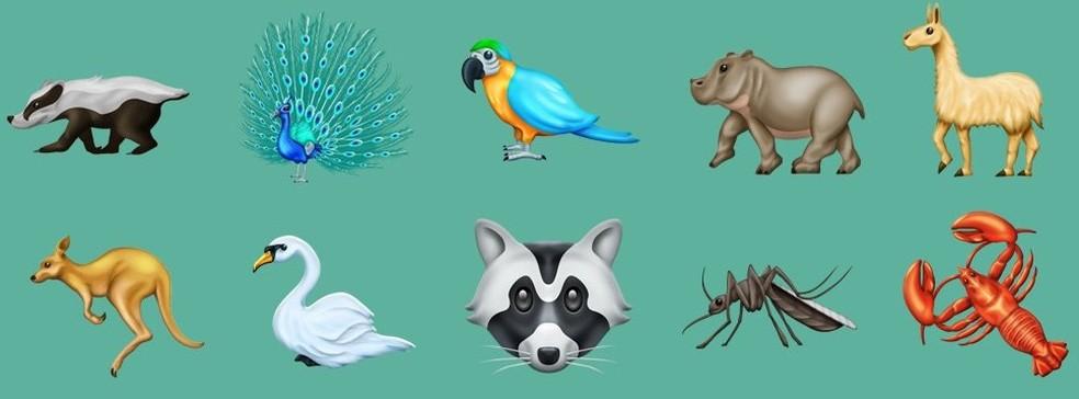 Entre os animais estão pavão, arara e canguru (Foto: Reprodução/Emojipedia)
