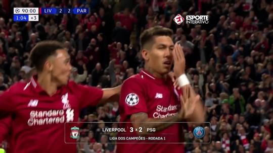 No dia seguinte ao gol salvador, Firmino usa óculos de proteção durante treino do Liverpool
