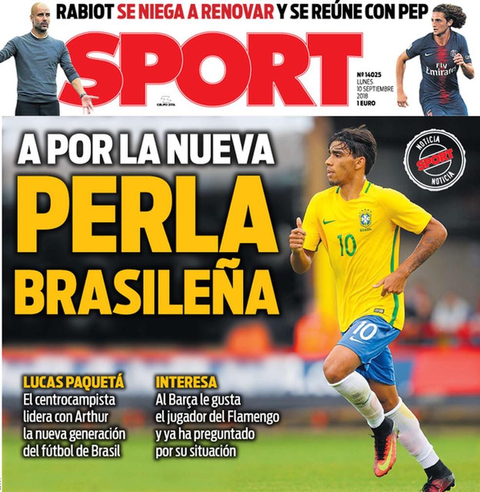 Lucas Paquetá na capa do jornal Sport, de Barcelona — Foto: Reprodução