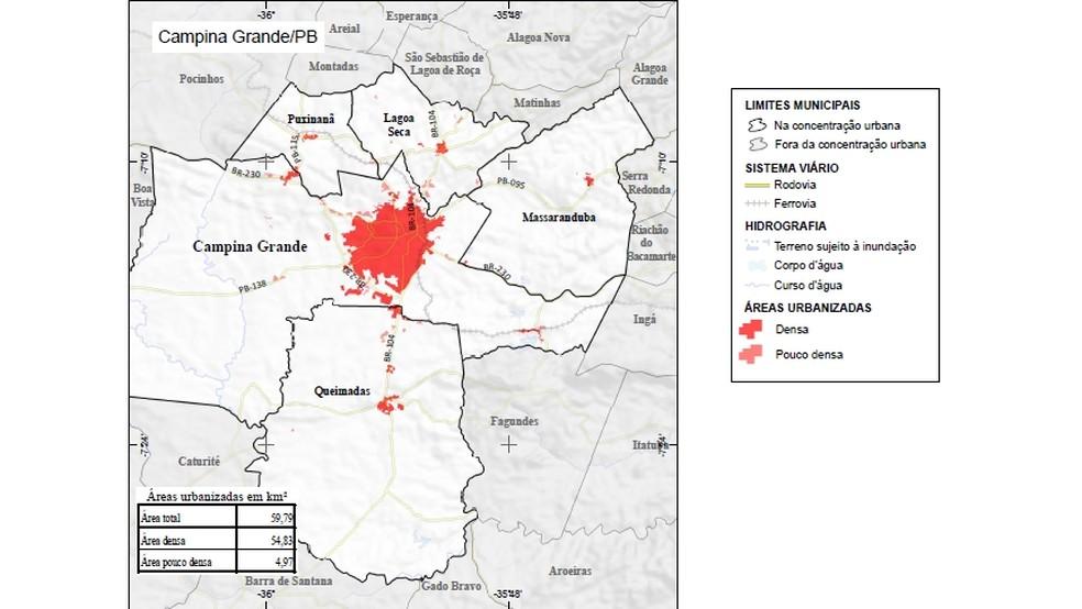 Mapa mostra área urbanizada de Campina Grande (Foto: IBGE/Reprodução)