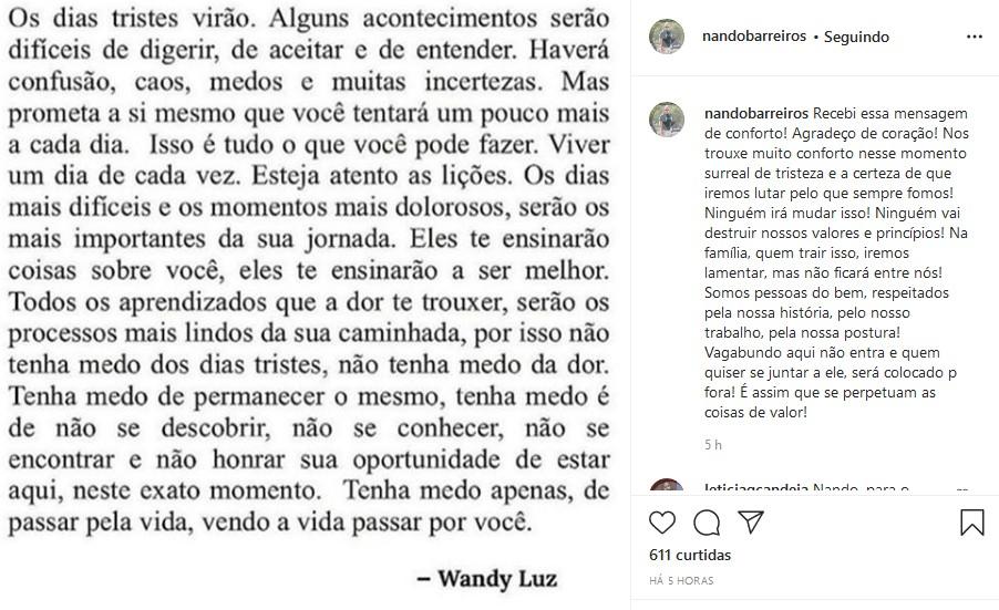 Pai de Duda Reis detona fotos de Nego do Borel com Anitta (Foto: Reprodução/Instagram)