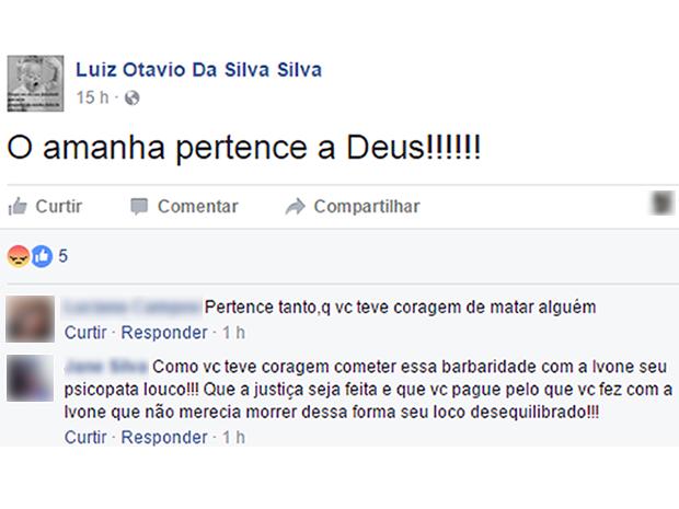 Luiz Otávio postou mensagem em rede social após o crime (Foto: Reprodução/TVCA)