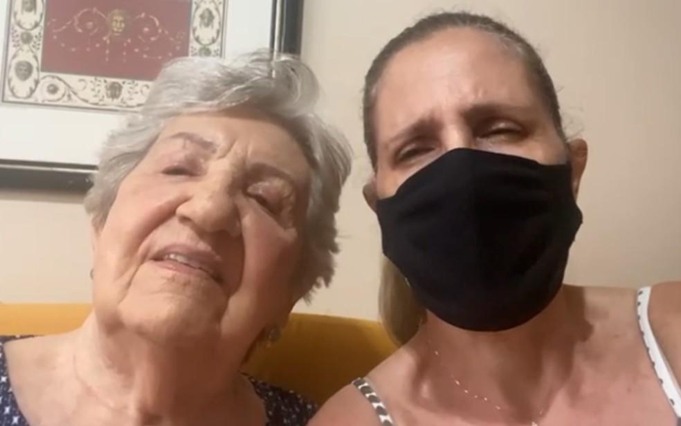 Luciana Jordão denuncia que a mãe só foi vacinada após questionar enfermeira sobre aplicação, em Goiânia, Goiás — Foto: Reprodução/TV Anhanguera