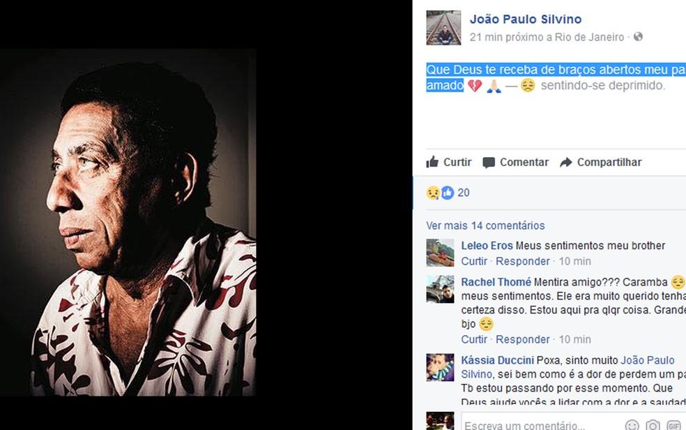Filho de Silvinmo lamentou a morte em redes sociais (Foto: Reprodução / Facebook)