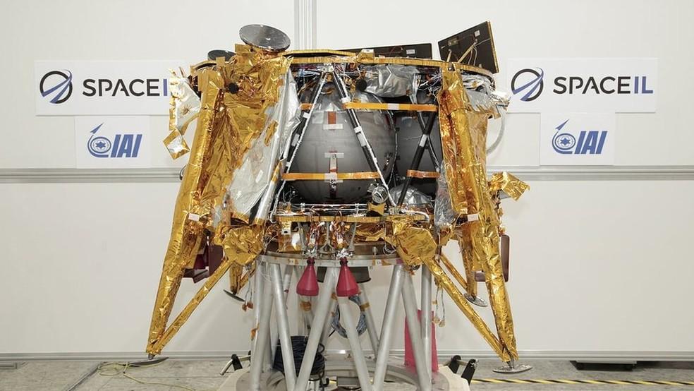 A espaçonave iria estudar o magnetismo da Lua enquanto estivesse na superfície lunar — Foto:  Beresheet