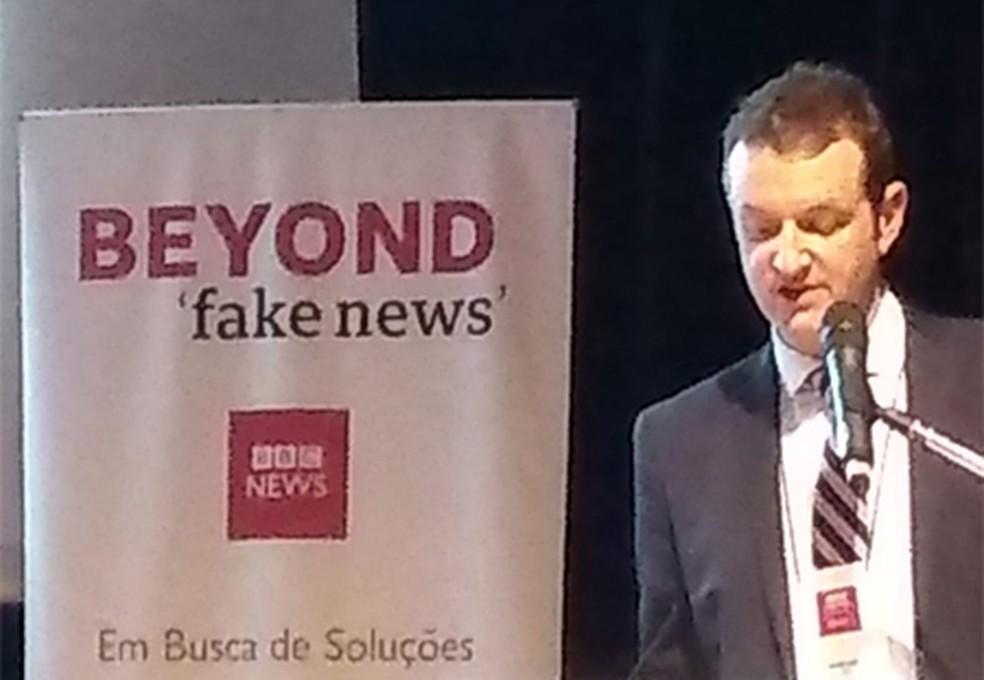 O diretor do World Service Group da BBC, Jamie Angus, durante seminário em SP — Foto: Roney Domingos/ G1