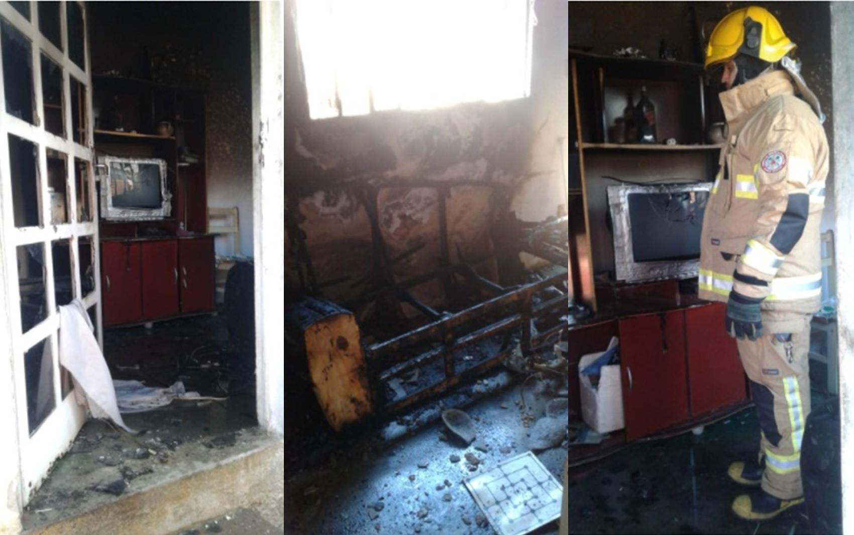 Suposto incêndio criminoso deixa sala de residência destruída em Poços de Caldas, MG