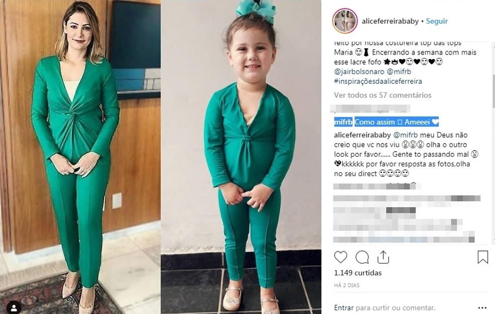 Réplica de 'look' chegou ao conhecimento da primeira-dama poucas horas depois da publicação — Foto: Instagram/Reprodução