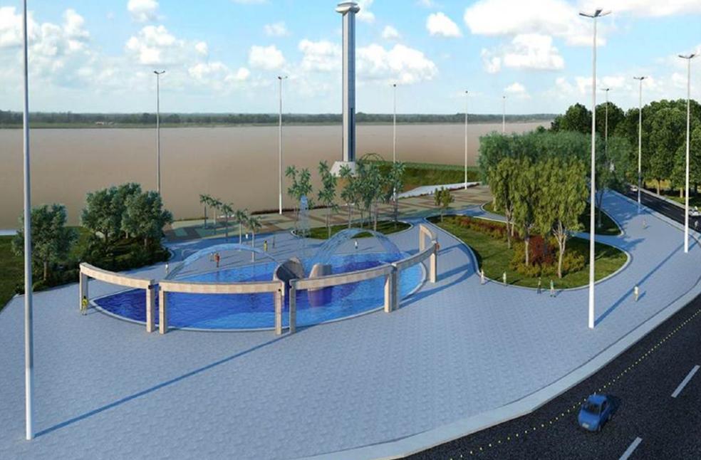 Área de lazer às margens do Rio Branco, na região Central da cidade, será implantada na estrutura (Foto: Prefeitura/Divulgação)