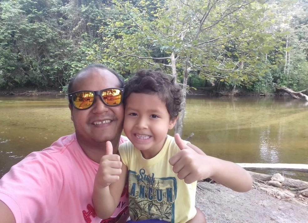 -  Bruno e seu filho Daniel  Foto: Reprodução/Tv Liberal