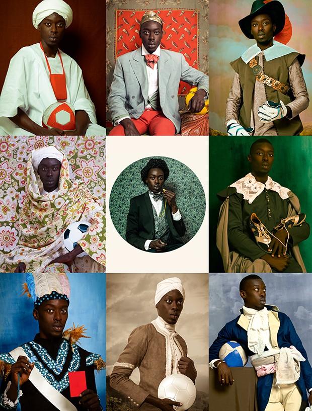 Os autorretratos do fotógrafo senegalês Omar Victor Diop, série na qual ele se coloca no lugar de personagens notáveis africanos e que estará em cartaz no CCBB (Foto: Omar Victor Diop / Divulgação / Raquel Nava)