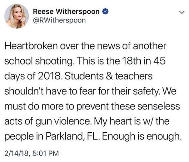 Reese lamenta tiroteio na rede social (Foto: Reprodução/Instagram)
