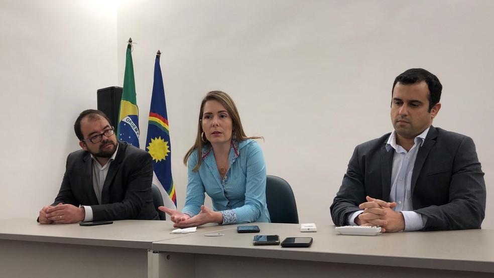 Delegada Patrícia Domingos concedeu entrevista coletiva, nesta quarta (31), no Recife — Foto: Pedro Alves/G1