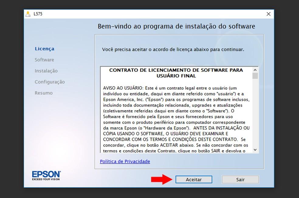 Aceite o contrato de licenciamento de software (Foto: Reprodução/Thiago Rocha)