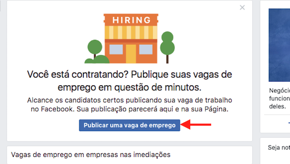 Acesse a interface para criar um anúncio para vaga de emprego no Facebook (Foto: Reprodução/Marvin Costa)