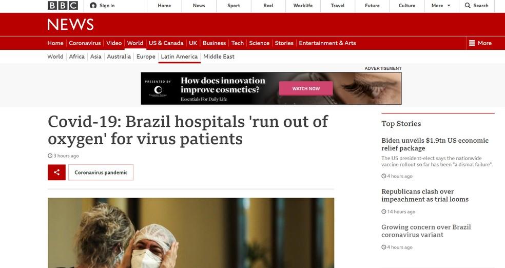 BBC: imprensa internacional repercute caos nos hospitais de Manaus — Foto: Reprodução/bbc.com