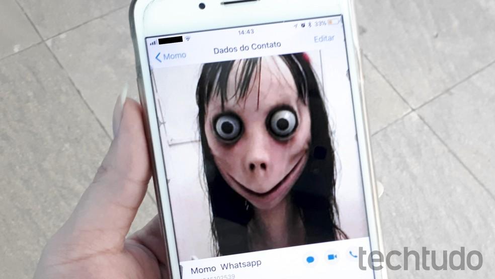 Momo perturbou crianças no WhatsApp — Foto: Aline Batista / TechTudo