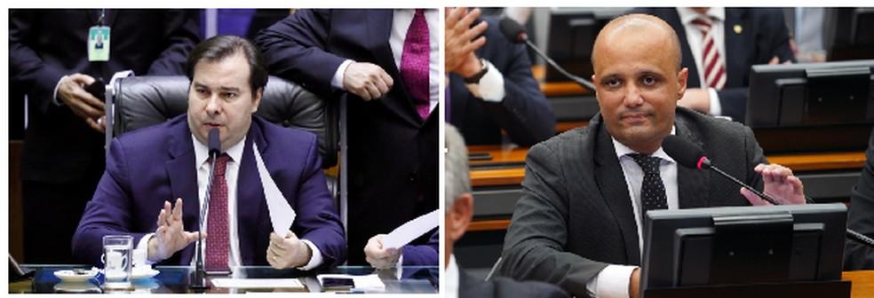 O presidente da Câmara, Rodrigo Maia (DEM-RJ), e o líder do governo na Casa, Major Vitor Hugo (PSL-GO) — Foto: Reprodução